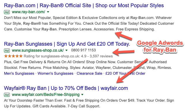 AdWords examples at the top of the SERP