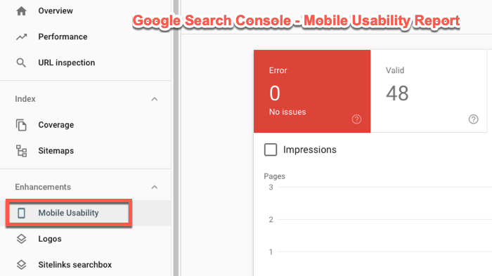 Mobile usability report in Search Console
