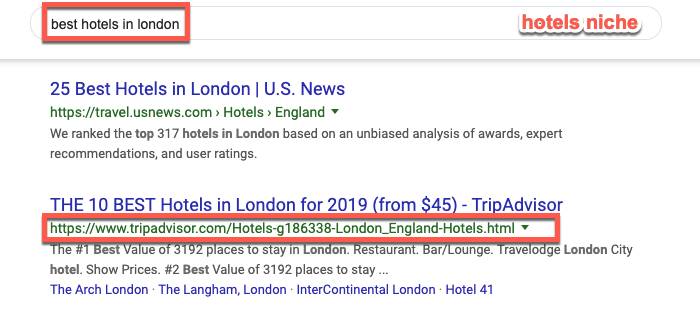 Barnacle SEO example in the Hotels niche