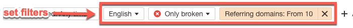 Filtering broken link targets in Ahrefs Content Explorer