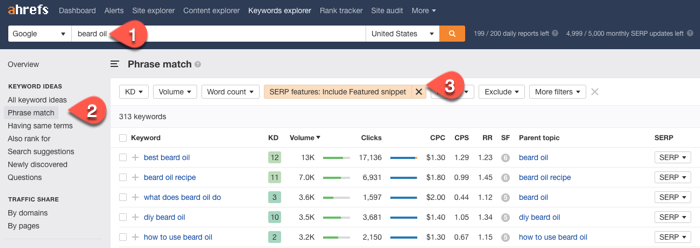 Looking for featured snippet opportunities in the Ahrefs Keyword Explorer