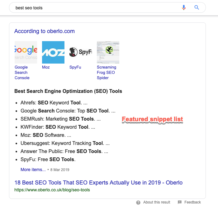 Bulleted list featured snippet example