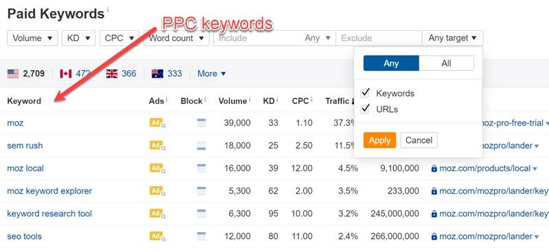 Ahrefs PPC Keywords report