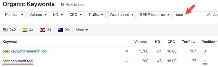 Analyzing keyword modifiers in Ahrefs