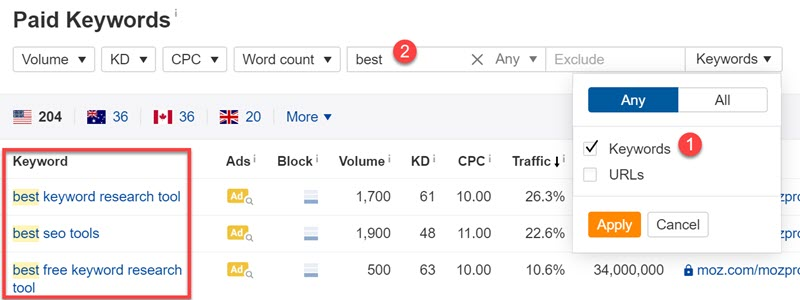 Analyzing keyword modifiers in the PPC report