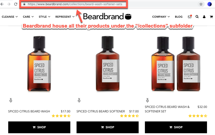 Beardbrand collections subfolder