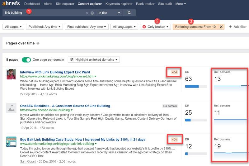 Finding broken link opportunities inside the Ahrefs Content Explorer