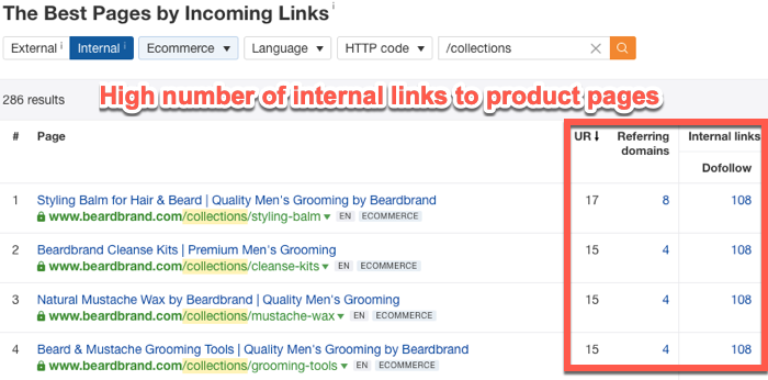 High number of internal links pointing to specific pages
