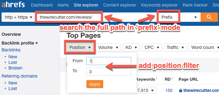 Searching for keyword ideas across a subfolder with the Prefix filter