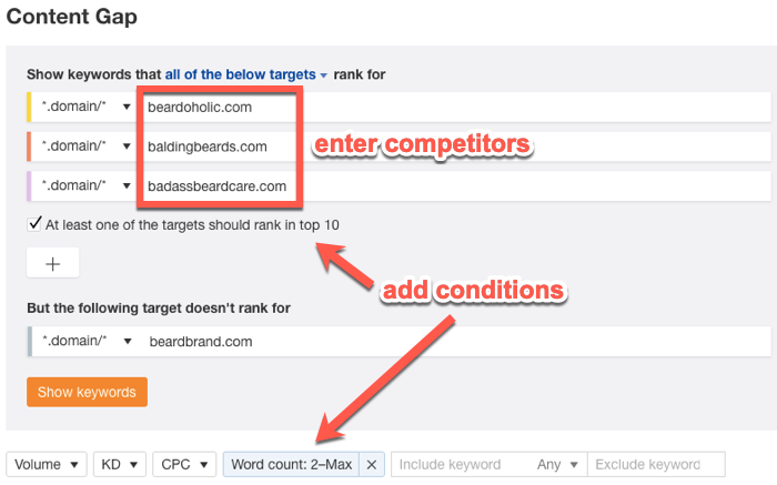 Using the Ahrefs Content Gap Analysis tool