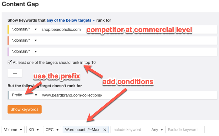 Using the Content Gap tool to analyze keyword gaps at the subfolder level