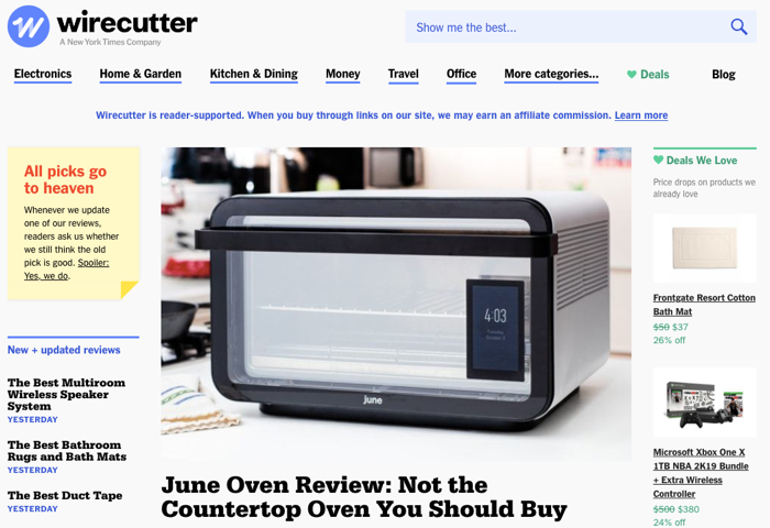 Wirecutter affiliate website example