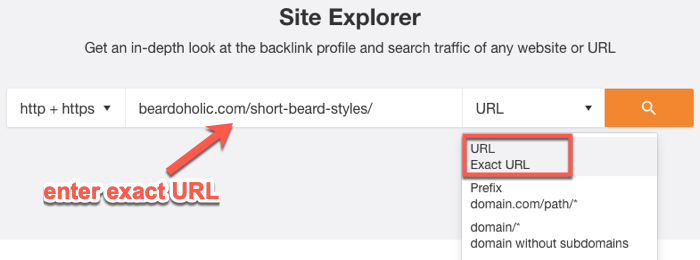 Running a URL search in the Site Explorer