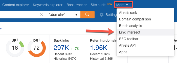 Using the Ahrefs Link Intersect tool