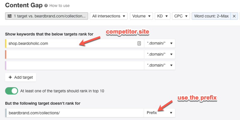 Using prefix filters in the Ahrefs Content Gap Analysis tool