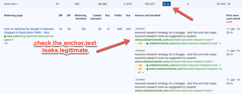 Checking anchor text in the Ahrefs Backlinks report