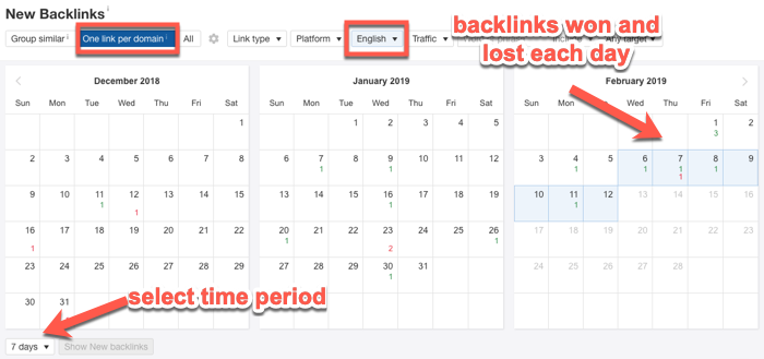 New Backlinks results