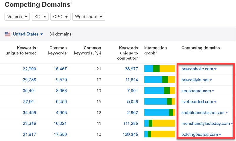 Ahrefs Competing Domain report