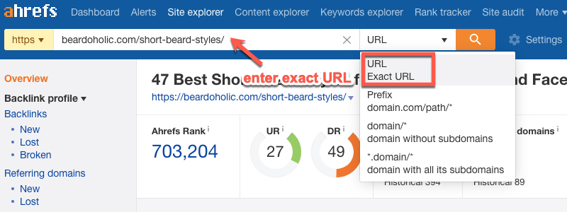 URL filters in the Ahrefs Content Gap Analysis tool
