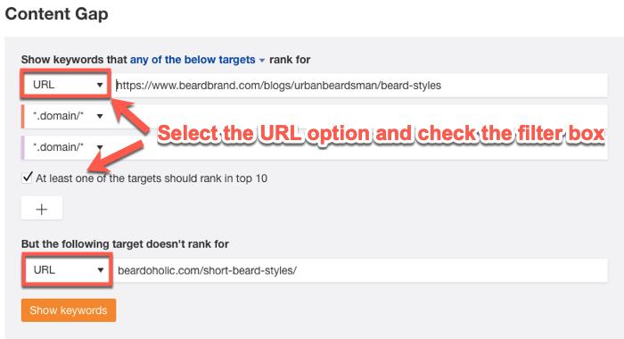 Setting URL filters in Ahrefs