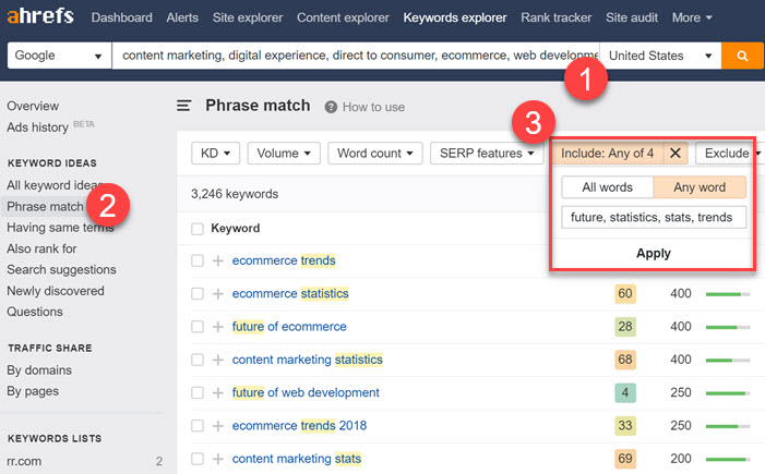 Filtering the trend based keyword results in Ahrefs