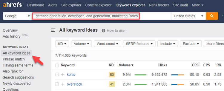 Startup keyword research