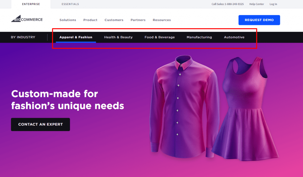 Example of Bigcommerce targeting solution keywords by industry