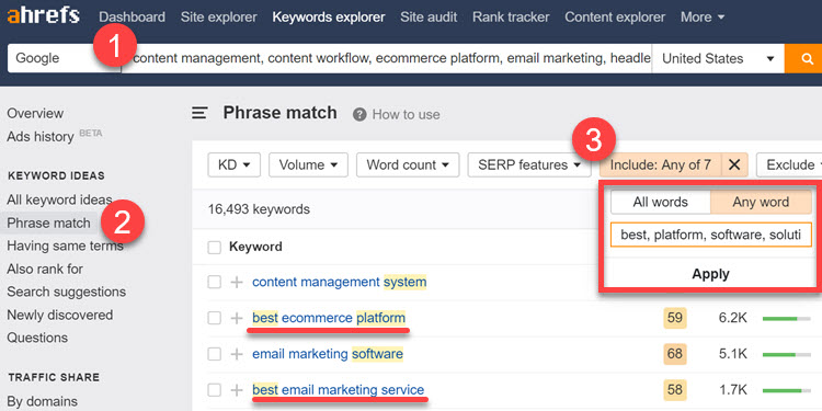 Filtered view in Phrase Match keyword report