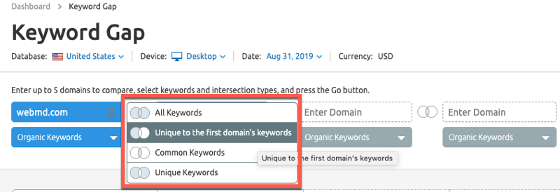 Competitor intersection in the SEMrush keyword gap tool