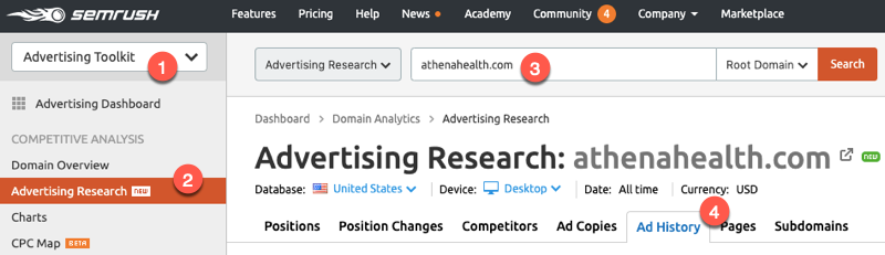 SEMrush Ad History report