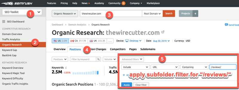 Applying subfolder filters to keyword reports inside SEMrush