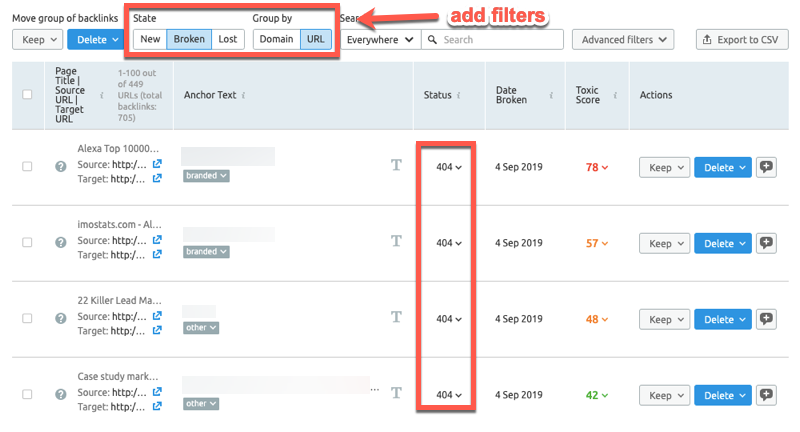 Finding broken link building opportunities in SEMrush