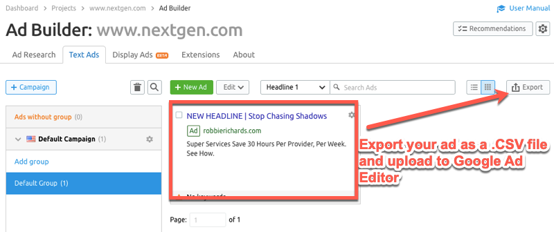 Exporting Google Ads templates from SEMrush
