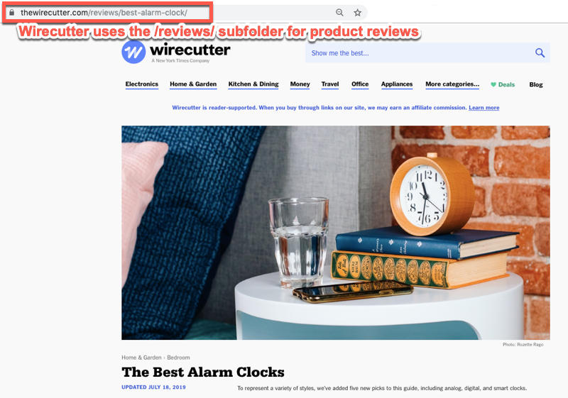 Wirecutter reviews subfolder analysis