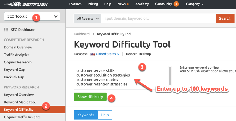 Analyzing keyword difficulty in SEMrush