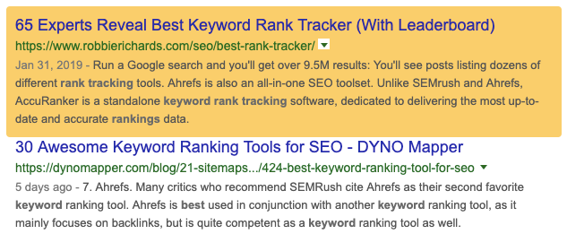 SEMrush SERP preview tool