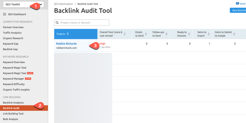 SEMrush backlink audit tool