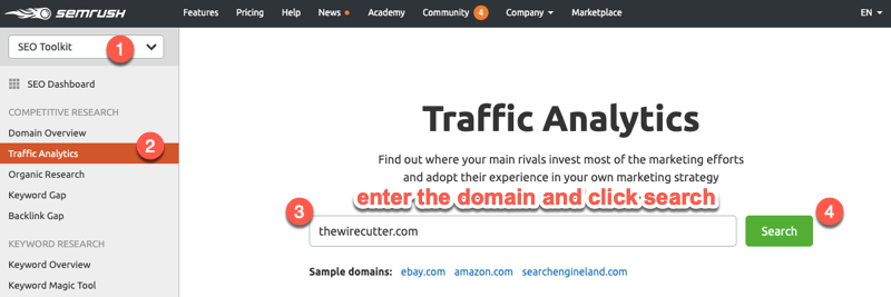 SEMrush Traffic Analytics report