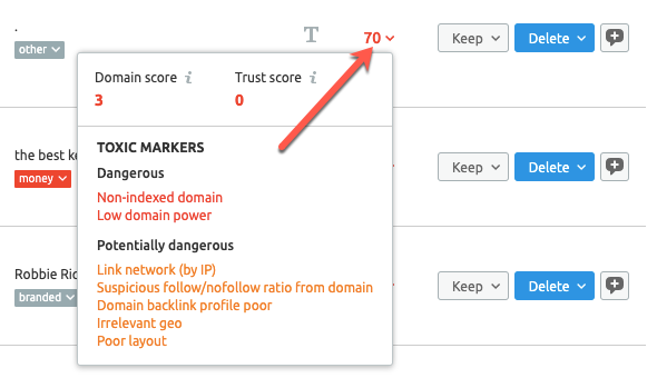 Reviewing toxic scores in the SEMrush backlink audit tool