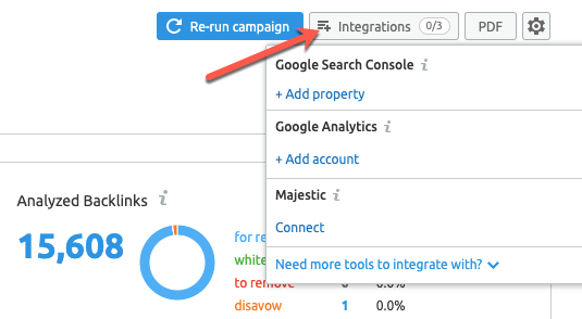 Integrating Google Analytics with the SEMrush backlink audit tool