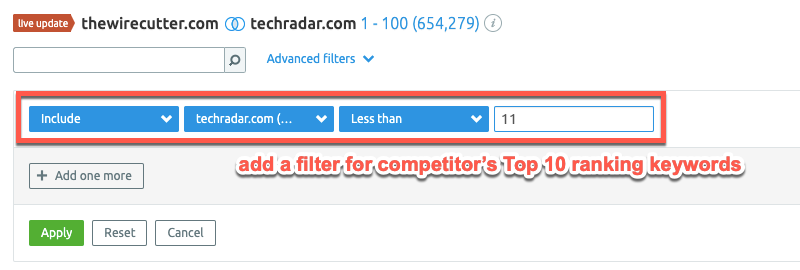 Filtering competitor keywords in SEMrush