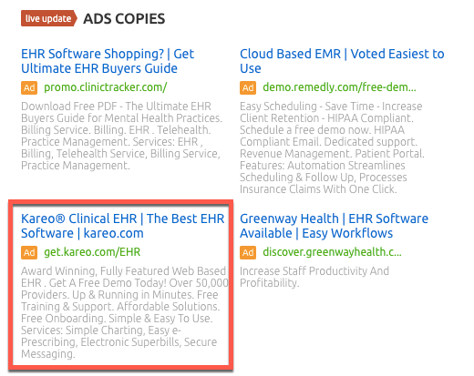 Ad copy report in SEMrush