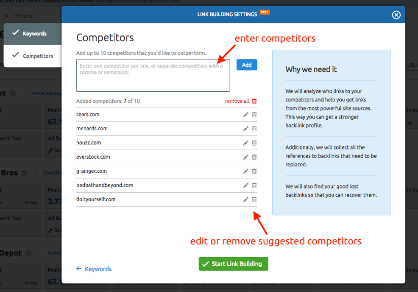 Analyzing competitors in the Link Building tool
