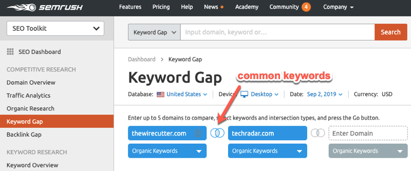 Finding common keywords in the SEMrush keyword gap report