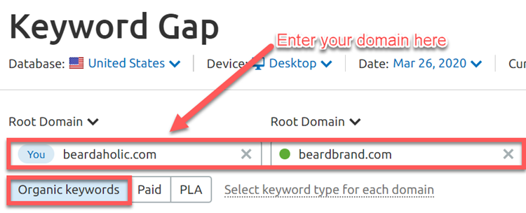 Entering competitor domains into SEMrush
