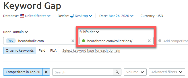Analyzing competitor keywords at the subfolder level
