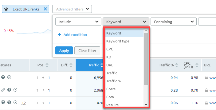 Filtering featured snippet opportunities