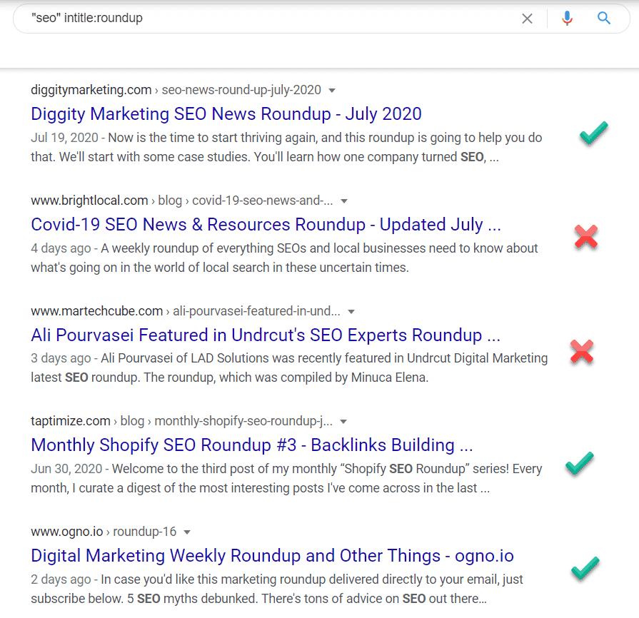SERP showing link roundups