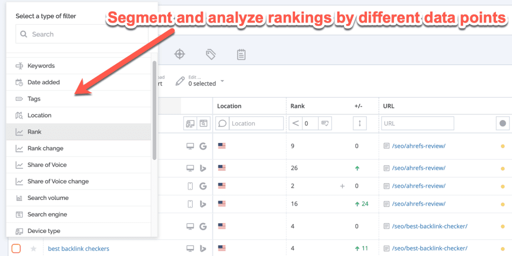 Screenshot showing how agencies can segment rankings data in AccuRanker.