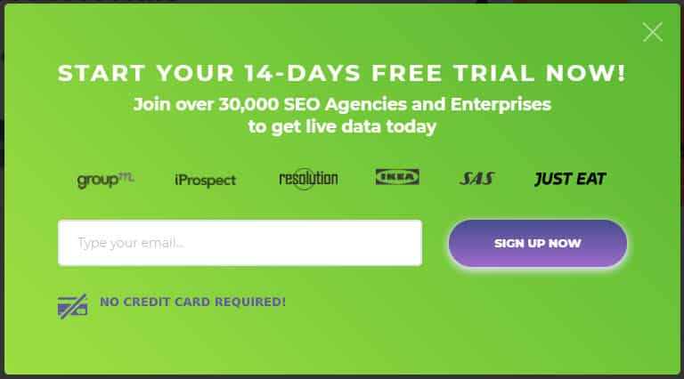 Pop up for signing up for a 14 day free trial of AccuRanker
